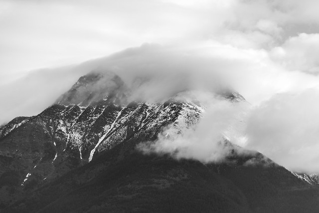 cloud covered mountains