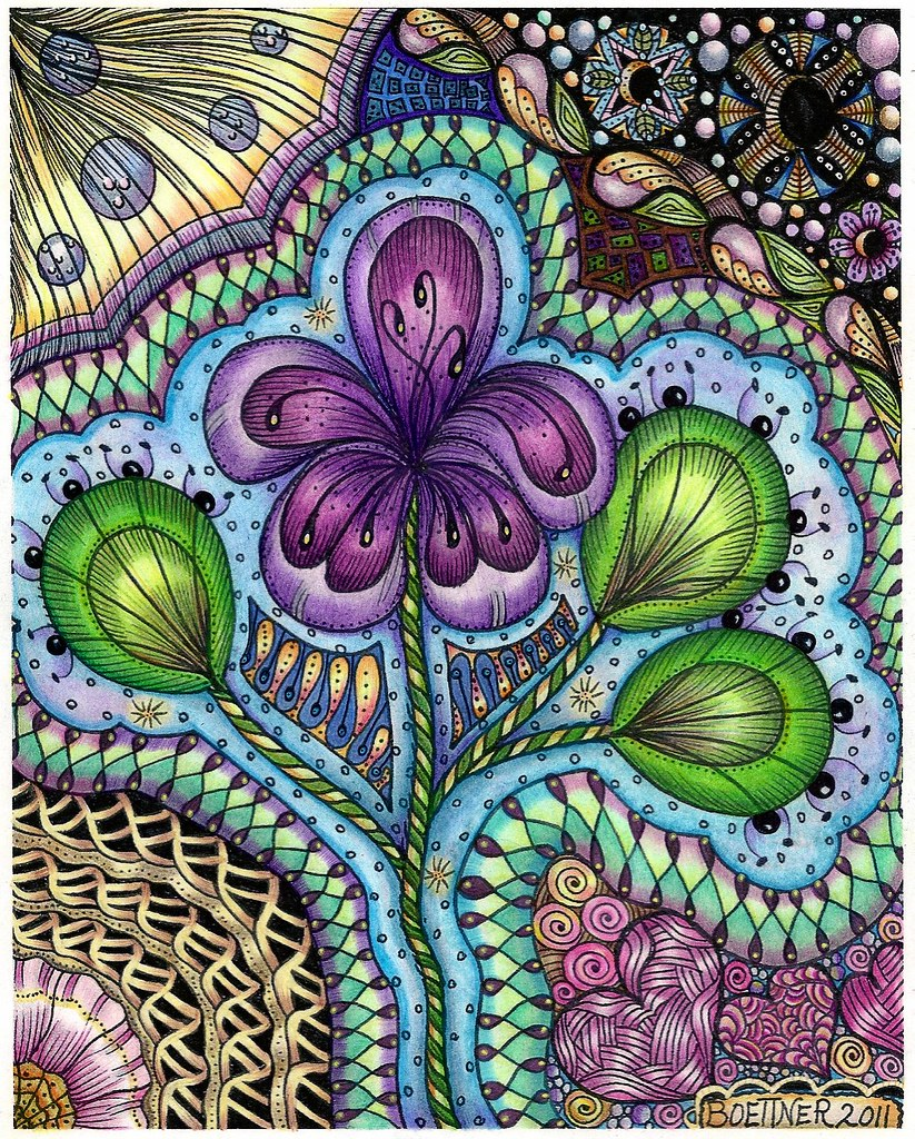 Zentangle Flowers Color Flower Dance Coloring Page