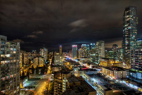 Vancouver BC Canada Cityscape with Robson Street at Night - HDR | by David Gn Photography