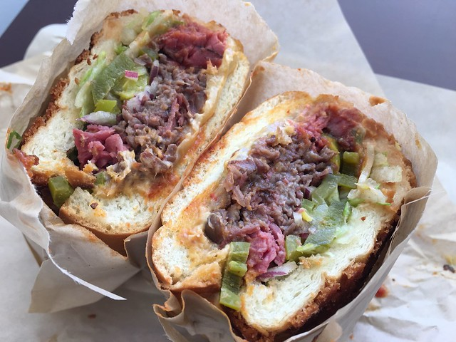 Pastrami and tri-tip sandwich - Mayo & Mustard