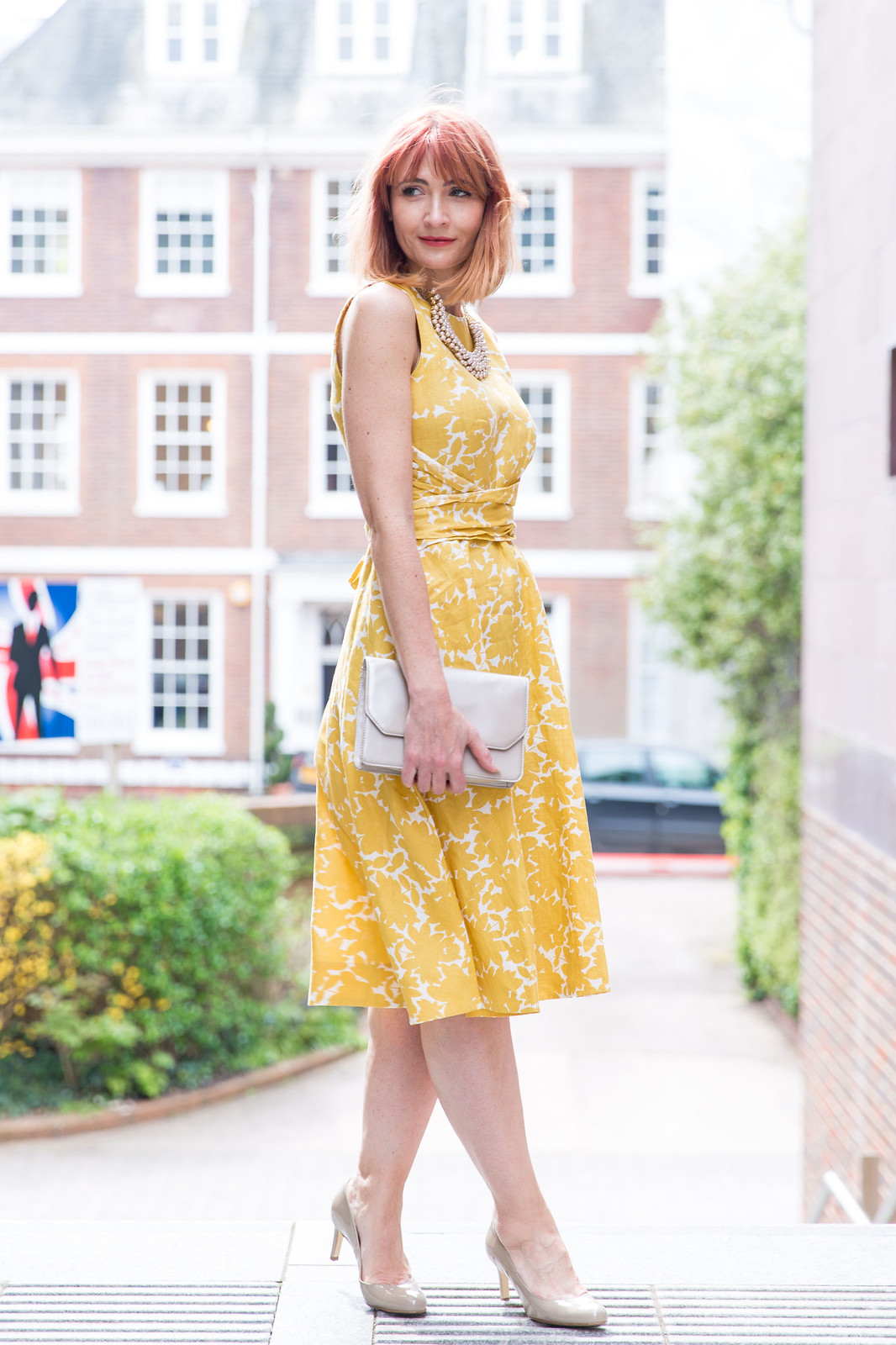 Hobbs SS16: Yellow fit n flare dress, pearl choker | Not Dressed As Lamb (photo: Kate Forster)