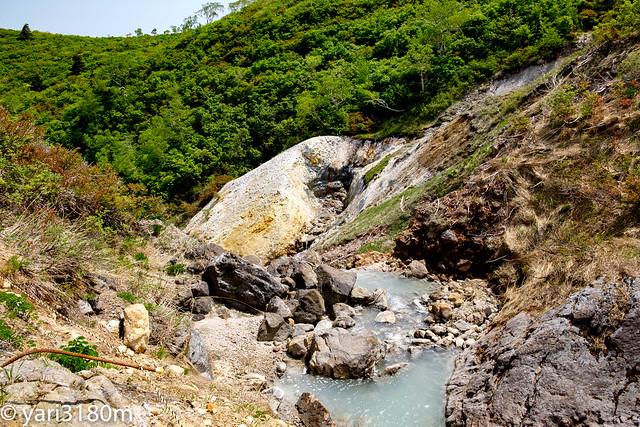 温泉の流れる渓流。
