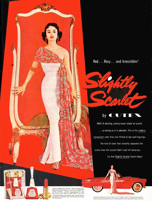 SLIGHTLY SCARLET Vintage CUTEX Ad (1955)
