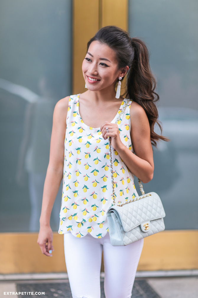 lemon top baublebar tassel earrings chanel blue flap bag
