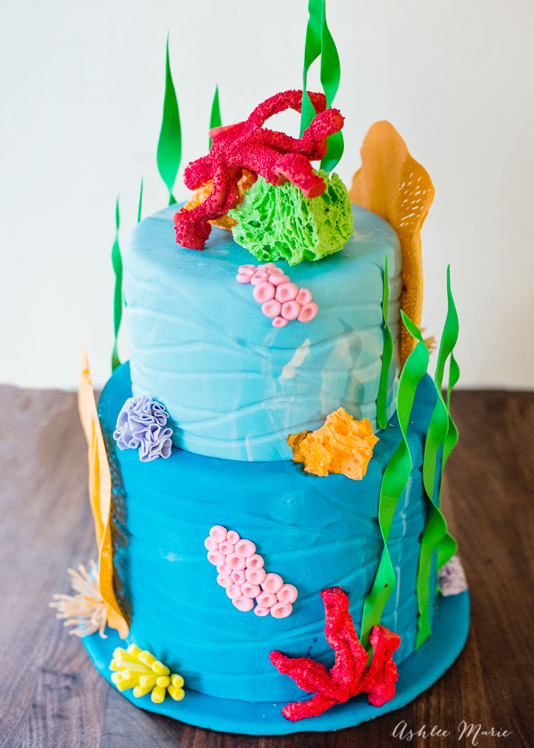 the coral decorating this under the sea cake are all easy to make and edible - full video tutorial