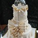 Ivory Lace Tiered Fondant Wedding or Anniversary Cake main view