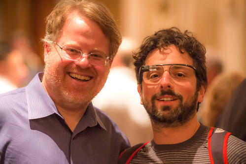 Robert Scoble and Google Co-Founder Sergey Brin at Last Night's Dinner in the Dark in San Francisco | by Thomas Hawk