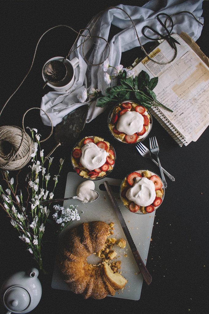 Strawberry Butternut Poundcake Parfaits with Whipped Rose Water Cream
