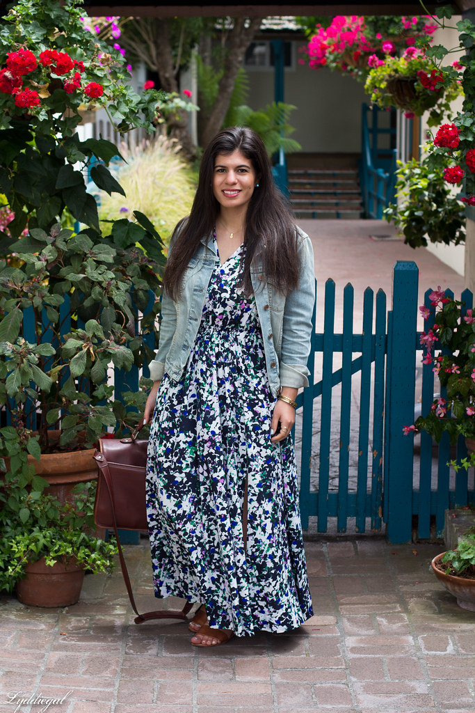 Floral Maxi Dress, Denim Jacket, brown sandals.jpg