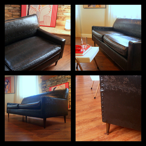 Flexsteel Sofa Vintage: VINTAGE MIDCENTURY MODERN Sofa Fabulous Black Faux Leather