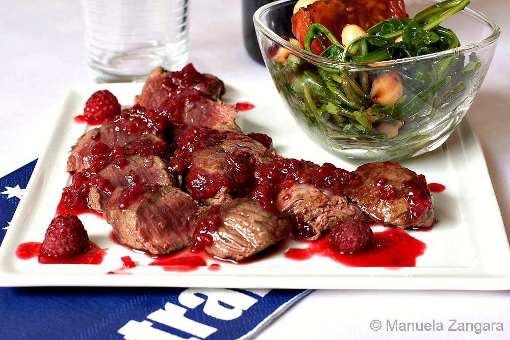 Seared Kangaroo Fillet Steaks with Raspberry Glaze