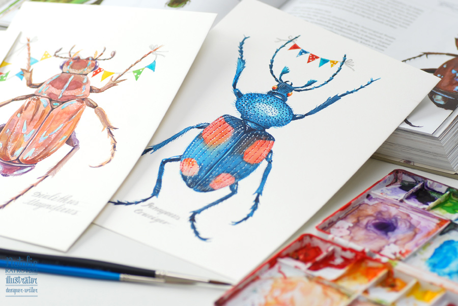 My beetles watercolors