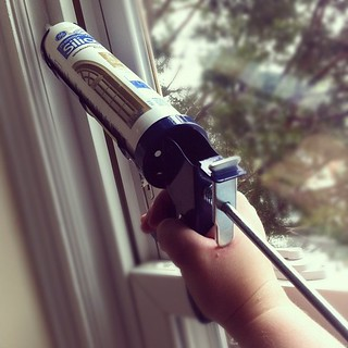 Afternoon project: learning how to wield a caulk gun (with help from YouTube). | by alykat