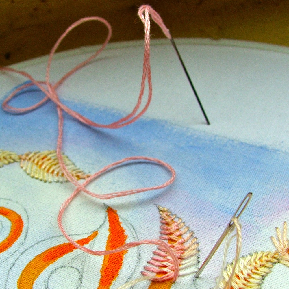 2-needle feather stitch