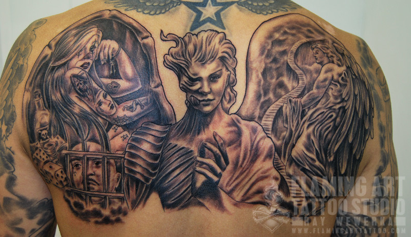 Tattoo Images of Angels And Demons Angels And Demons Back Tattoos