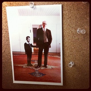 Took down my corkboard for #steallikeanartist except this photo of Saul Steinberg w/ his 6-year-old self | by Austin Kleon