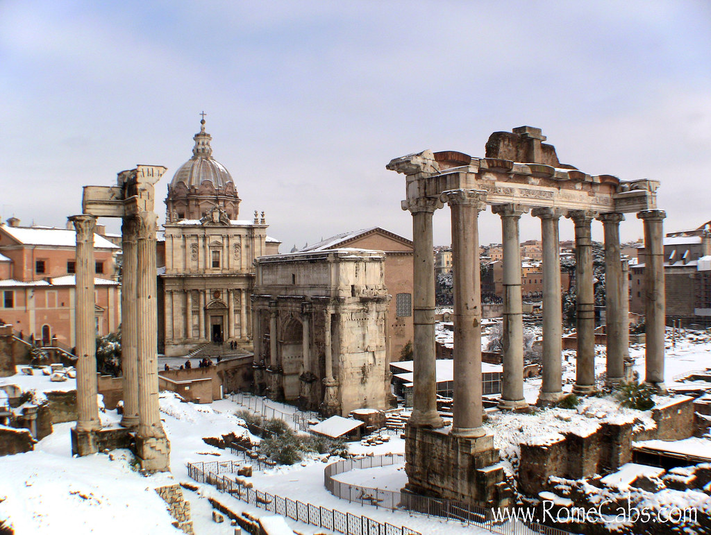 Roman Forum, blanketed by snow