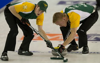 Napanee, ON Feb 12 2011 M&M Canadian Juniors Team NO Second Kyle Toset and Lead Joel Adams. Michael Burns Photo Ltd. | by seasonofchampions