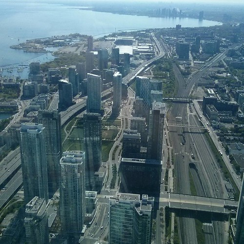 Looking west from on high #toronto #cntower #lakeontario #harbourfront #ontarioplace #humberbay