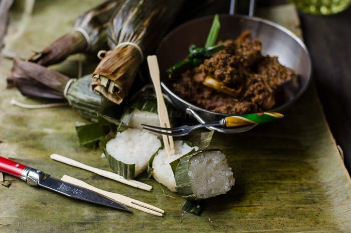 Cheat Lemang or glutinous rice wrapped in banana leaves