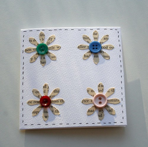 Wordy flower cards - set of 5 upcycled notecards | by Swirlyarts