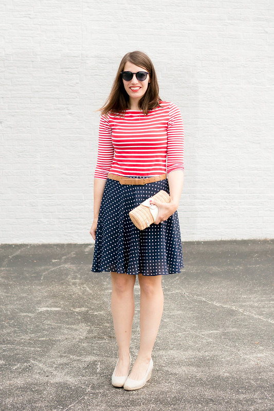 red and white stripe Target tee + brown belt + navy and white polka dot skirt; Fourth of July outfit Style On Target