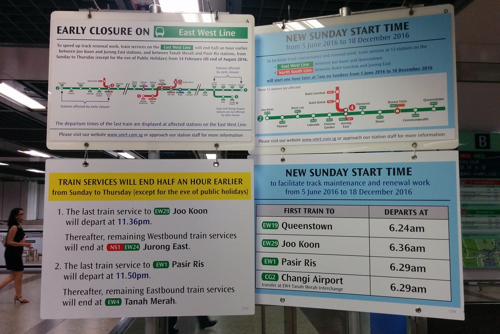 Singapore MRT: early closure/late start for works