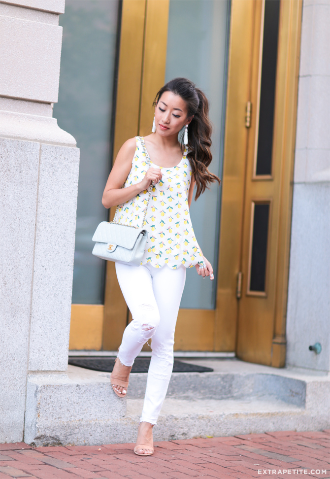 maison jules lemon print scallop top white jbrand jeans
