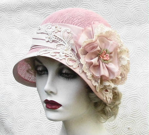 Cloche Hat in Shabby Chic Pink | by Vintage Style Hats by Gail