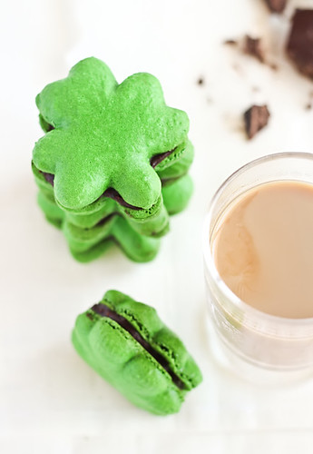 Shamrock Macarons with Baileys Chocolate Ganache | by raspberri cupcakes