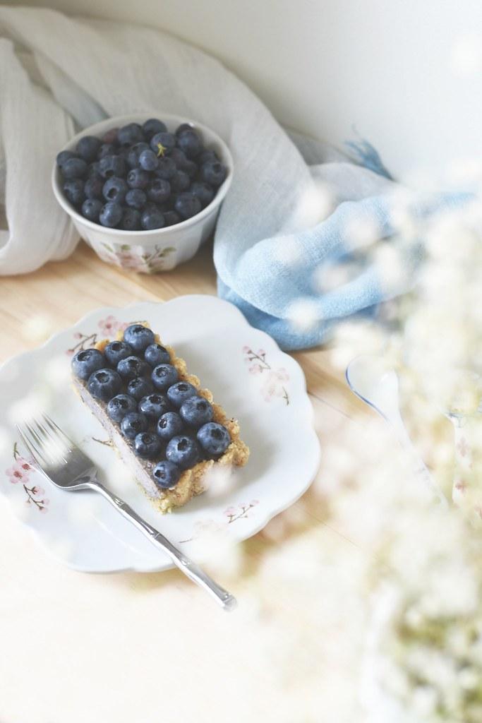Raw Blueberry Coconut Tart + Nut Crust