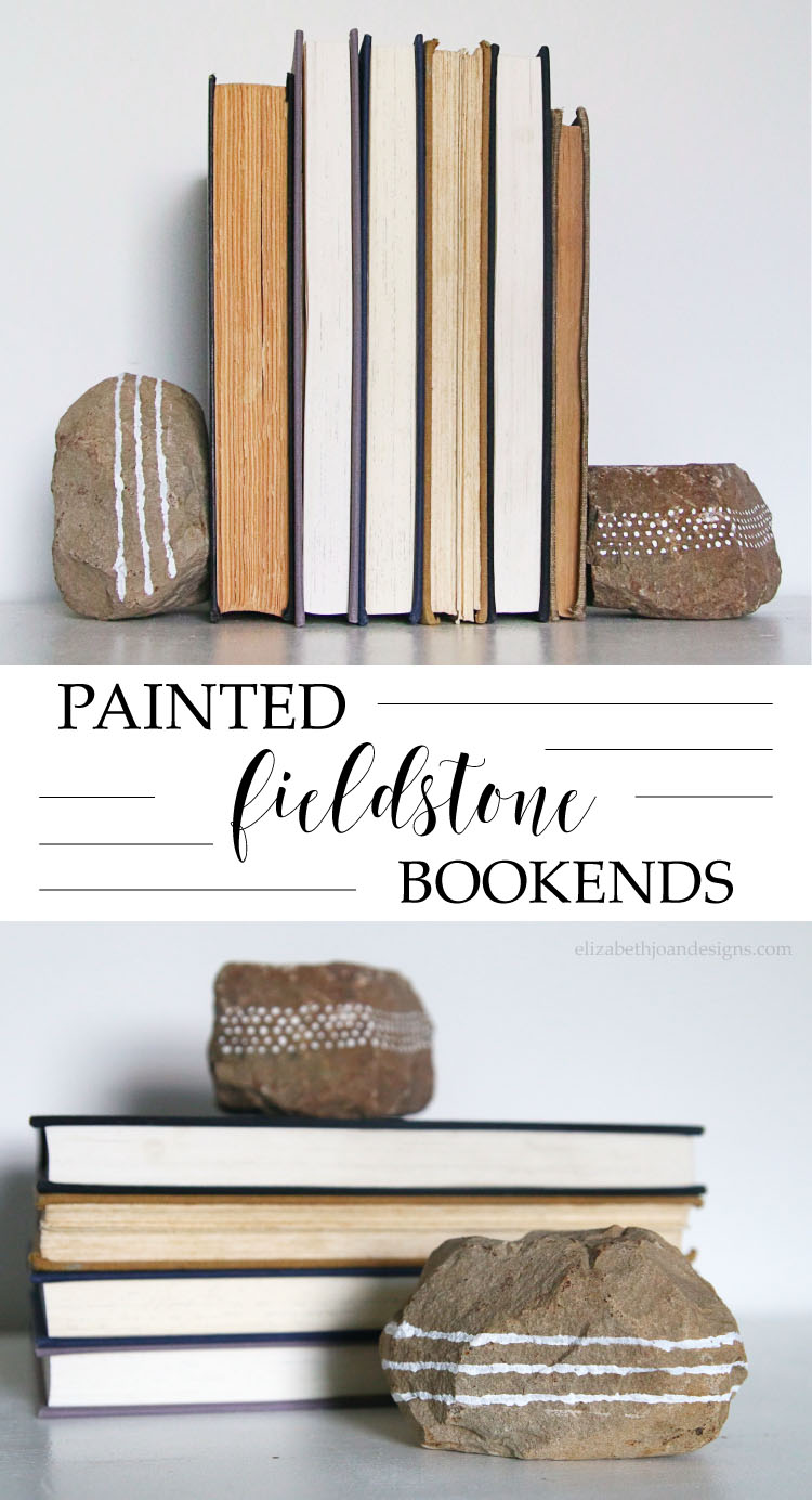 This would be so cute for a boy's room! Painted Fieldstone Bookends - a great 5 minute craft to repurpose fieldstone rocks.  Learn how to make fun DIY Project for your Bookshelf