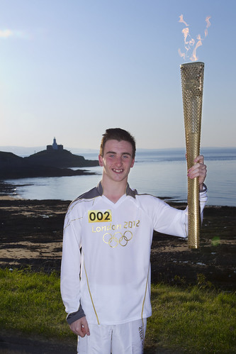 Corey with the flame | by Swansea University