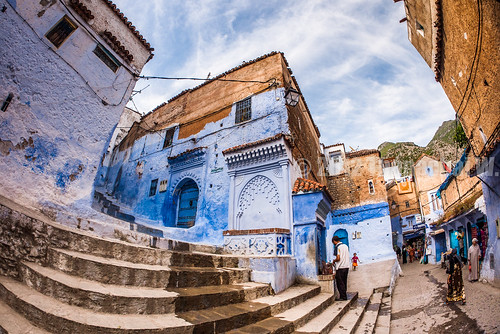 Stairs and Fountain in a Chefchaouen's Square | by Beum Gallery