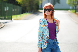 Casual Spring Summer look: Floral drape jacket, purple tank, boyfriend jeans | Not Dressed As Lamb