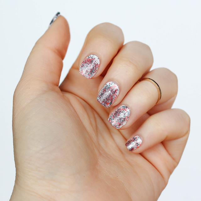 Paint Splatter Manicure   Red and Metallic Gray Nail Art   Mani on Living After Midnite by Jackie Giardina Beauty Blogger
