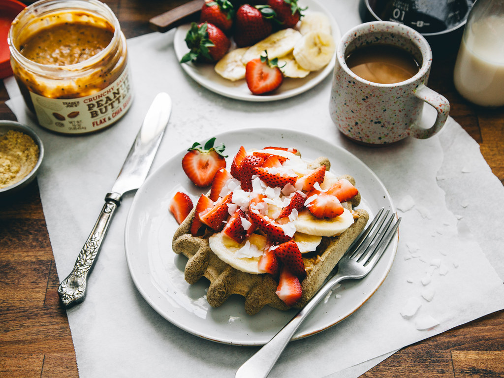 Single-serving vanilla protein waffle