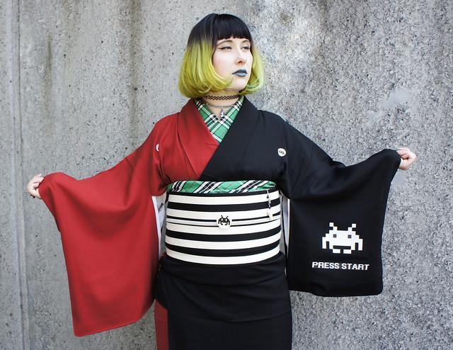 Space Invaders kimono SALZ Tokyo top