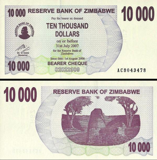 10000 Dolárov Zimbabwe 2006, P46b