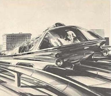 "Ground-effect train (""Airail"") proposed for Los Angeles by Ideonics Corporation, 1961 
