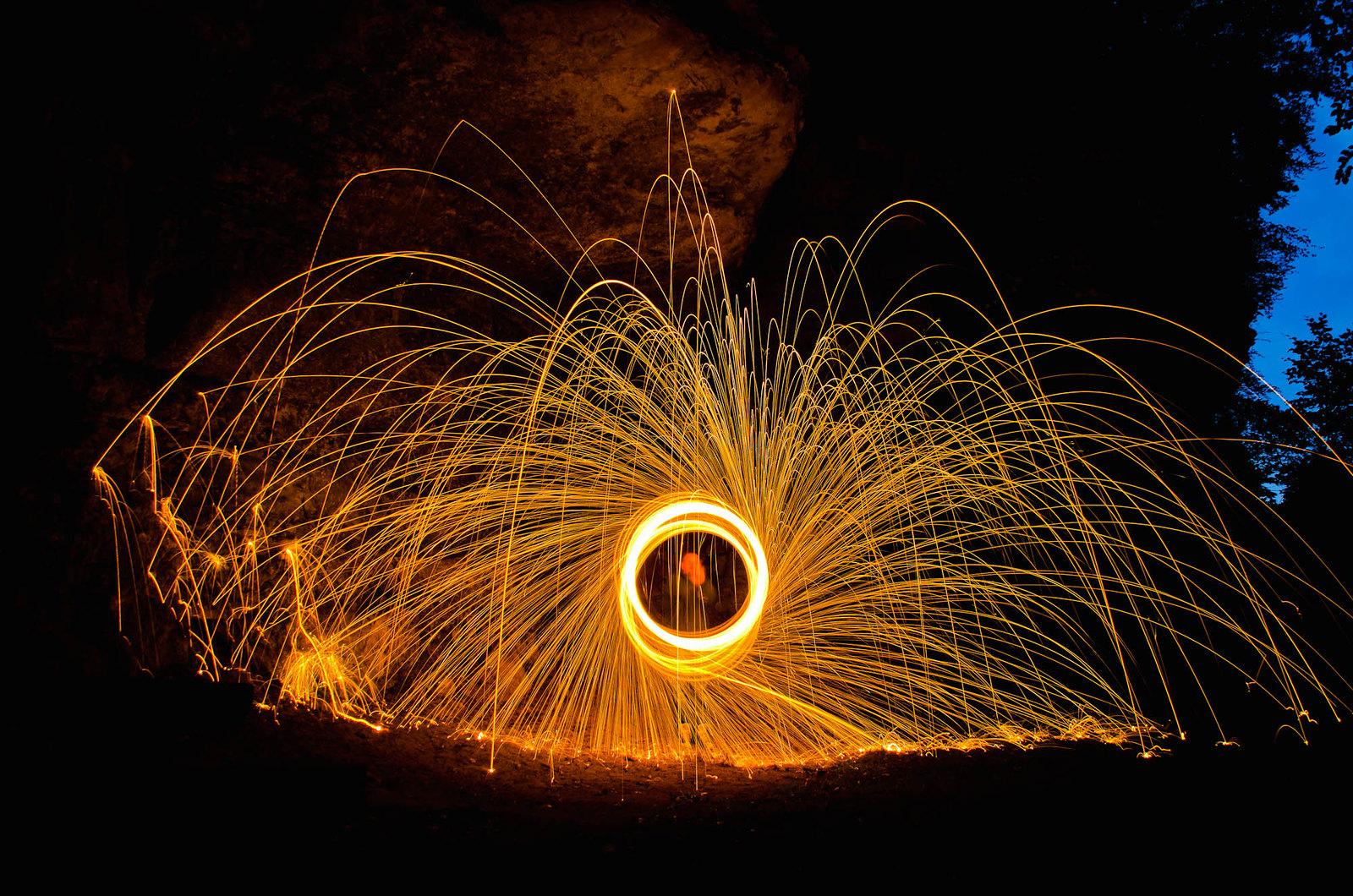 Lightpainting met staalwol