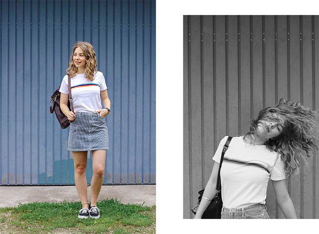 outfit_regenbogenshirt8, The Curly Head, Thecurlyhead, Amelie, Blog, Outfit, Mode, Outfitpost, Minirock, Jeans-Rock, Regenbogen-Shirt, striped rainbow shirt, mini skirt, Vans, Modeblogger