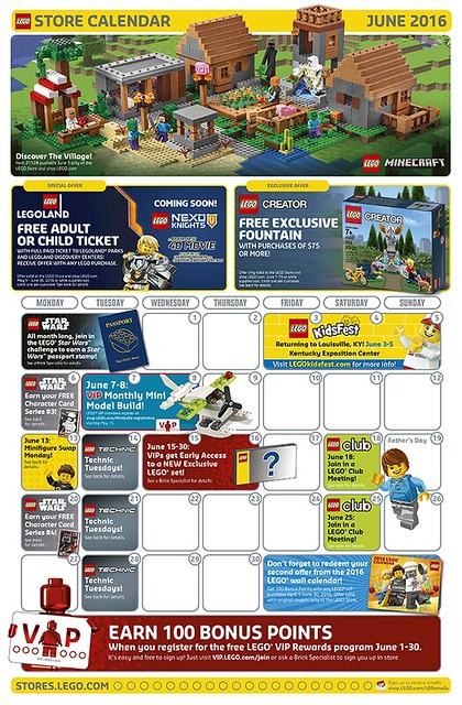 LEGO Shop June 2016 Calendar