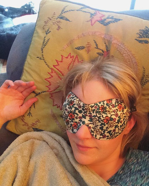 Josh bought me this glammy new sleep mask. Ahoy, mid-afternoon nap! (Note Maggie napping in the background)
