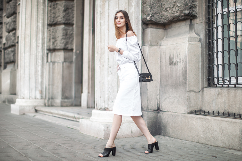 how-to-wear-off-shoulder-tops-white-denim-midi-outfit