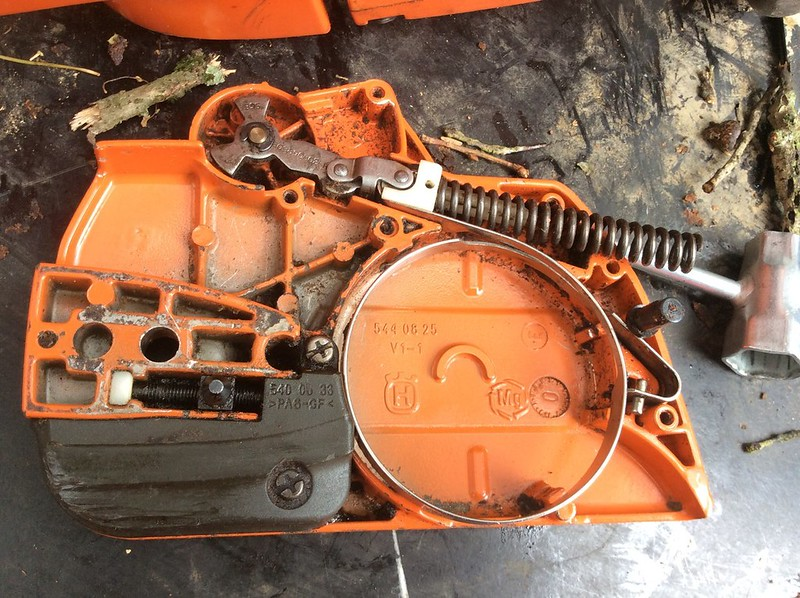 Anyone have a trick for getting husqvarna chainsaw brake kickback httpsc4aticflickr87288163897356291cf166b3b8cg plus there is a fragile plastic insert that goes more than 13 of the way through the one greentooth Images