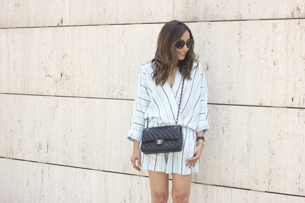 Maje Jumpsuit with stripes black heels chanel bag summer outfit street style fashion05
