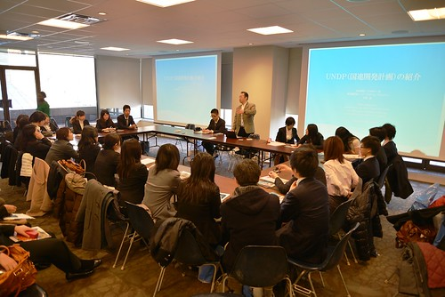 Takeshi Kohno briefs Ritsumeikan University students on the work of UNDP. 15 February 2013 | by United Nations Development Programme