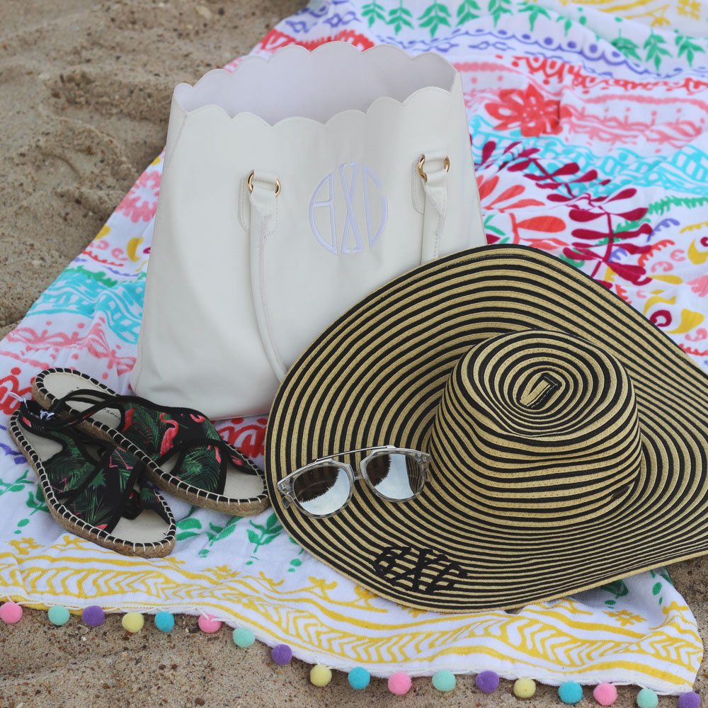 Marleylilly stripe monogram sun hat and scallop monogram tote