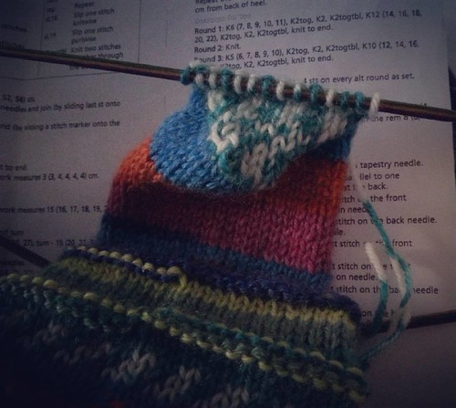 I've shaped the heel (I think it's right!) and am ready to pick up for the instep, but first I need a cup of tea! #socksforaweegem